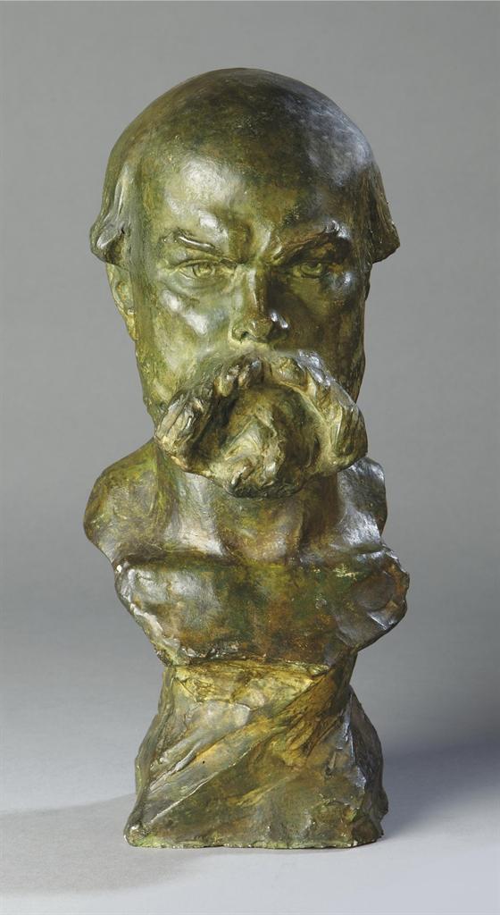 buste en platre peint a l 39 imitation du bronze representant paul verlaine 1844 1896 pierre. Black Bedroom Furniture Sets. Home Design Ideas