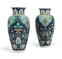 A PAIR OF BURMANTOFTS EARTHENWARE VASES BY LEONARD KING