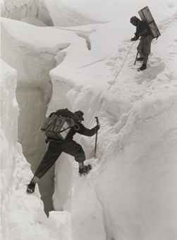 Sherpas Crossing a Nasty Crevasse, Near Camp II, Mount Everest Expedition, 1953