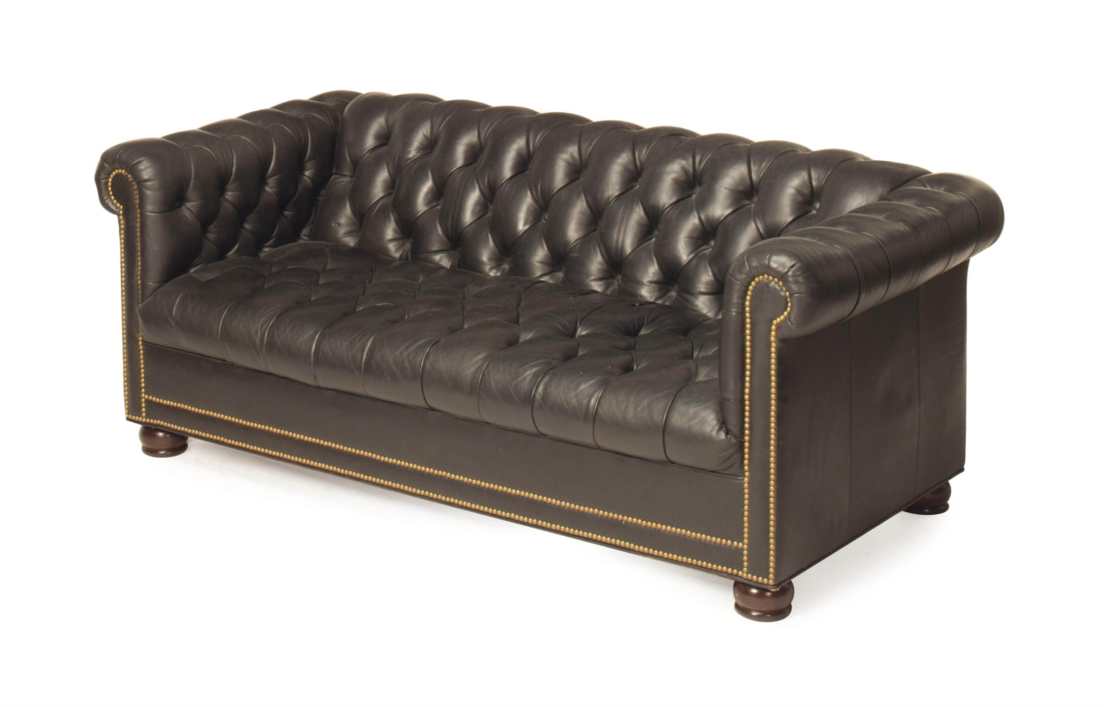 a modern black leather upholstered button tufted chesterfield style sofa interiors auction. Black Bedroom Furniture Sets. Home Design Ideas
