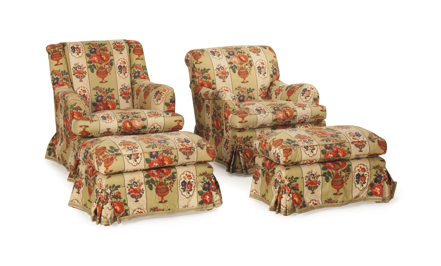 Two Pairs Of Floral Chintz Upholstered Club Chairs And A