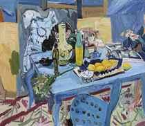 Lemon on Blue Table