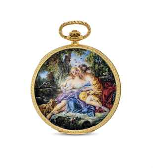 PATEK PHILIPPE. AN EXCEPTIONALLY FINE AND UNIQUE 18K GOLD HUNTER CASE KEYLESS LEVER WATCH WITH ENAMEL MINIATURE BY SUZANNE ROHR AFTER FRANÇOIS BOUCHER AND ORIGINAL CERTIFICATE