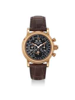 PATEK PHILIPPE. A VERY RARE 18K PINK GOLD PERPETUAL CALENDAR SPLIT SECONDS CHRONOGRAPH WRISTWATCH WITH UNUSUAL BLACK TACHYMETRE DIAL, MOON PHASES, LEAP YEAR INDICATION, ORIGINAL CERTIFICATE, ADDITIONAL CASE BACK AND BOX