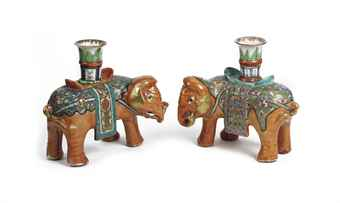 A pair of Chinese Canton famille rose 'elephant' candle-holders