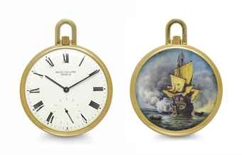 Patek Philippe. A Fine and Unique 18k Gold Openface Keyless Lever Watch with Enamel Miniature After van de Welde, by Mrs. Bischoff