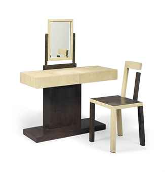 A SHAGREEN AND PALMWOOD DRESSING TABLE AND CHAIR EN SUITE