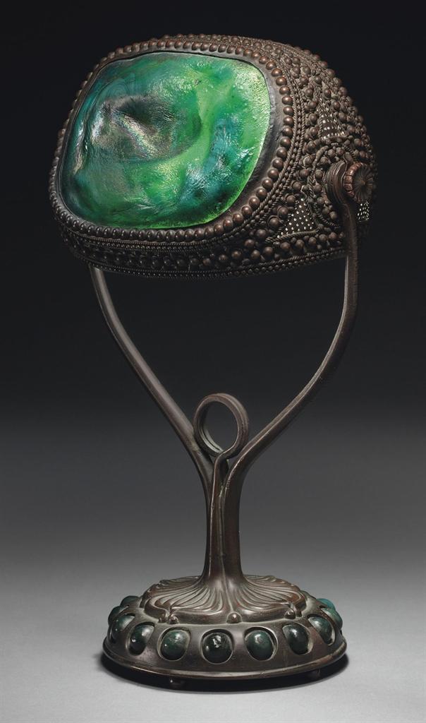 Tiffany Studios A Turtleback Tile Desk Lamp Circa