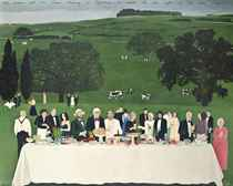"Peter Langan's feast for David Hockney at Glyndebourne to celebrate the first night of the ""The Rake's Progress"""