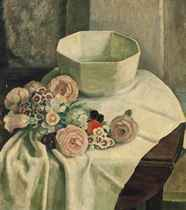 Still life of mixed flowers and a white bowl