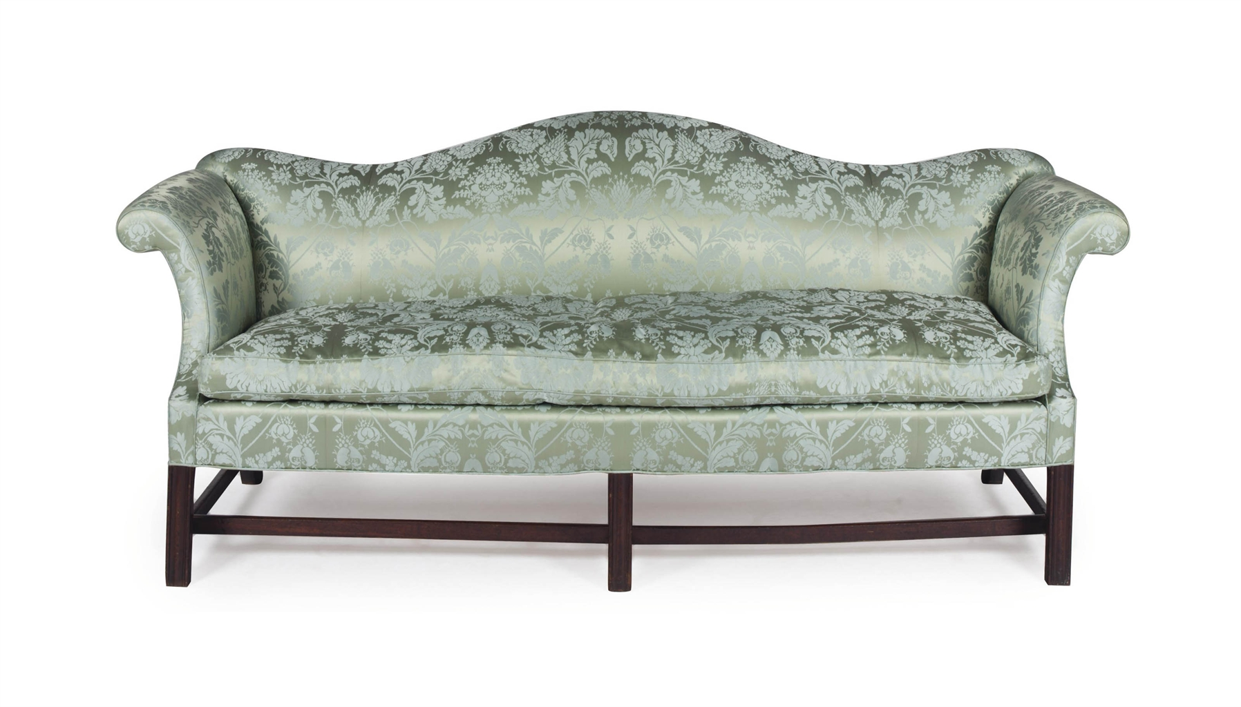 An English Oak And Green Blue Silk Damask Upholstered Sofa