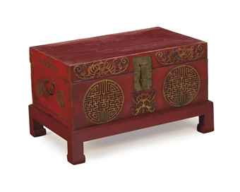 A CHINESE RED-PAINTED LEATHER TRUNK ON LATER PAINTED WOOD STAND,