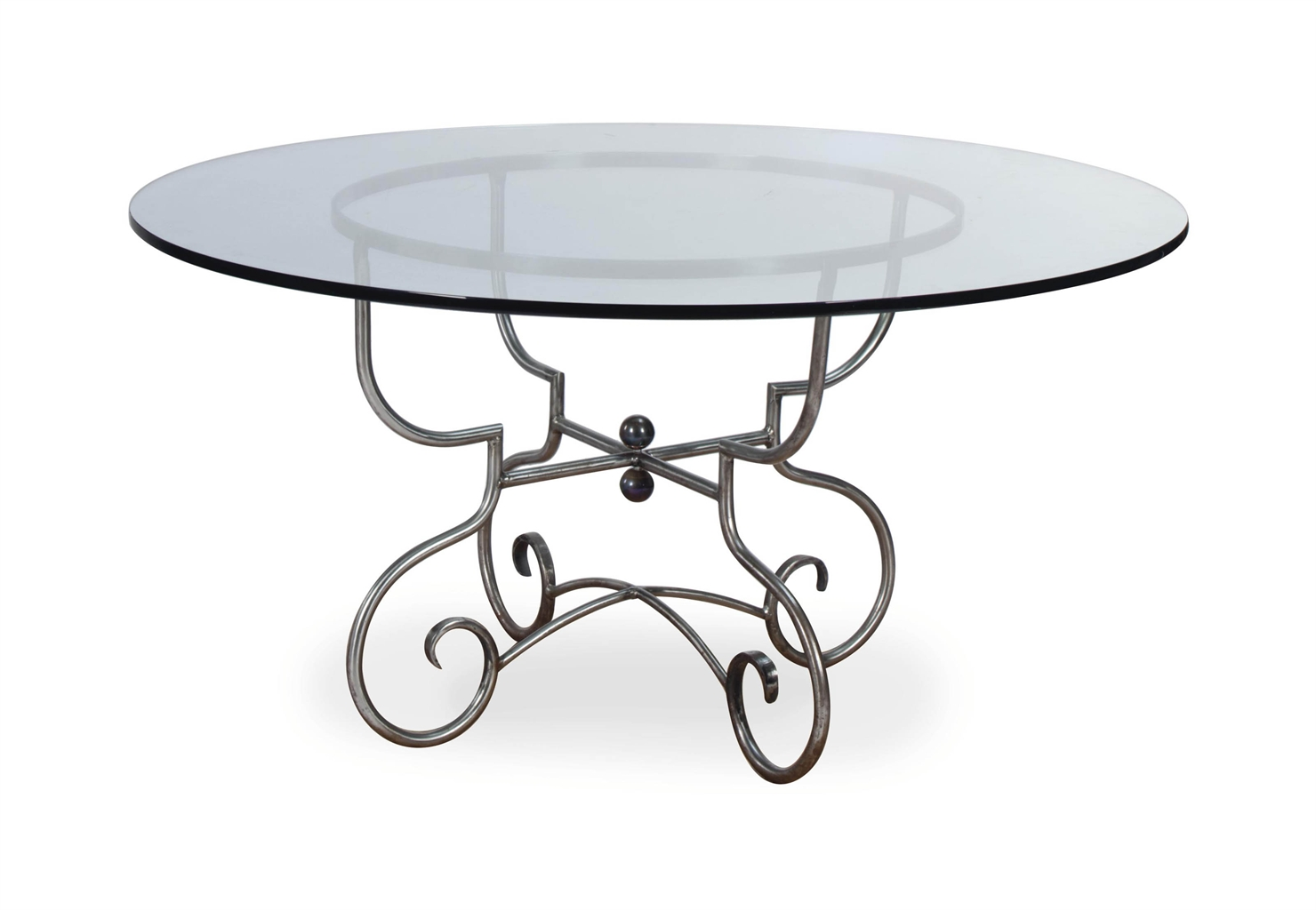 A FRENCH BRUSHED METAL AND GLASS TOP CIRCULAR DINING TABLE