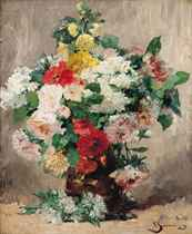 Roses, chrysanthemums and other Summer blooms in a vase