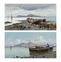 A fisherman tending to his nets on the Bay of Naples, Vesuvius beyond; and Boats on the shore, Capri beyond