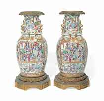 A PAIR OF ORMOLU-MOUNTED CANTONESE FAMILLE ROSE VASES