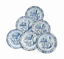 SIX CHINESE BLUE AND WHITE DISHES