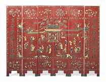 A CHINESE RED LACQUER, SOAPSTONE AND SPECIMEN INLAID SIX FOL