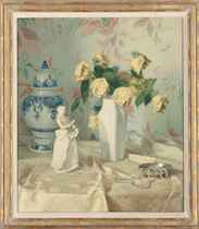 Yellow roses with a white figurine