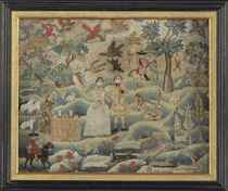 A WOOL AND SILK NEEDLEWORK PICTORIAL ON LINEN