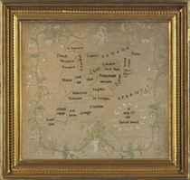 A SILK NEEDLEWORK OF A MAP ON LINEN