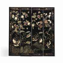 A CHINESE COROMANDEL AND LACQUER FOUR-FOLD SCREEN