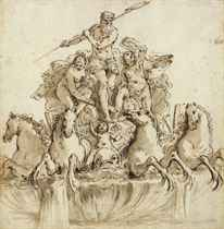 Design for a fountain of Neptune in his chariot drawn by four hippocamps, flanked by nymphs and putti