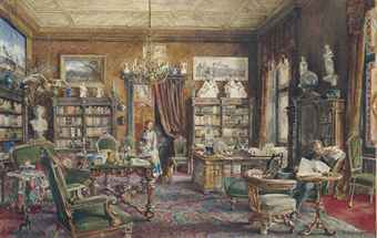 A gentleman and a maidservant in an interior of a library, possibly Austrian