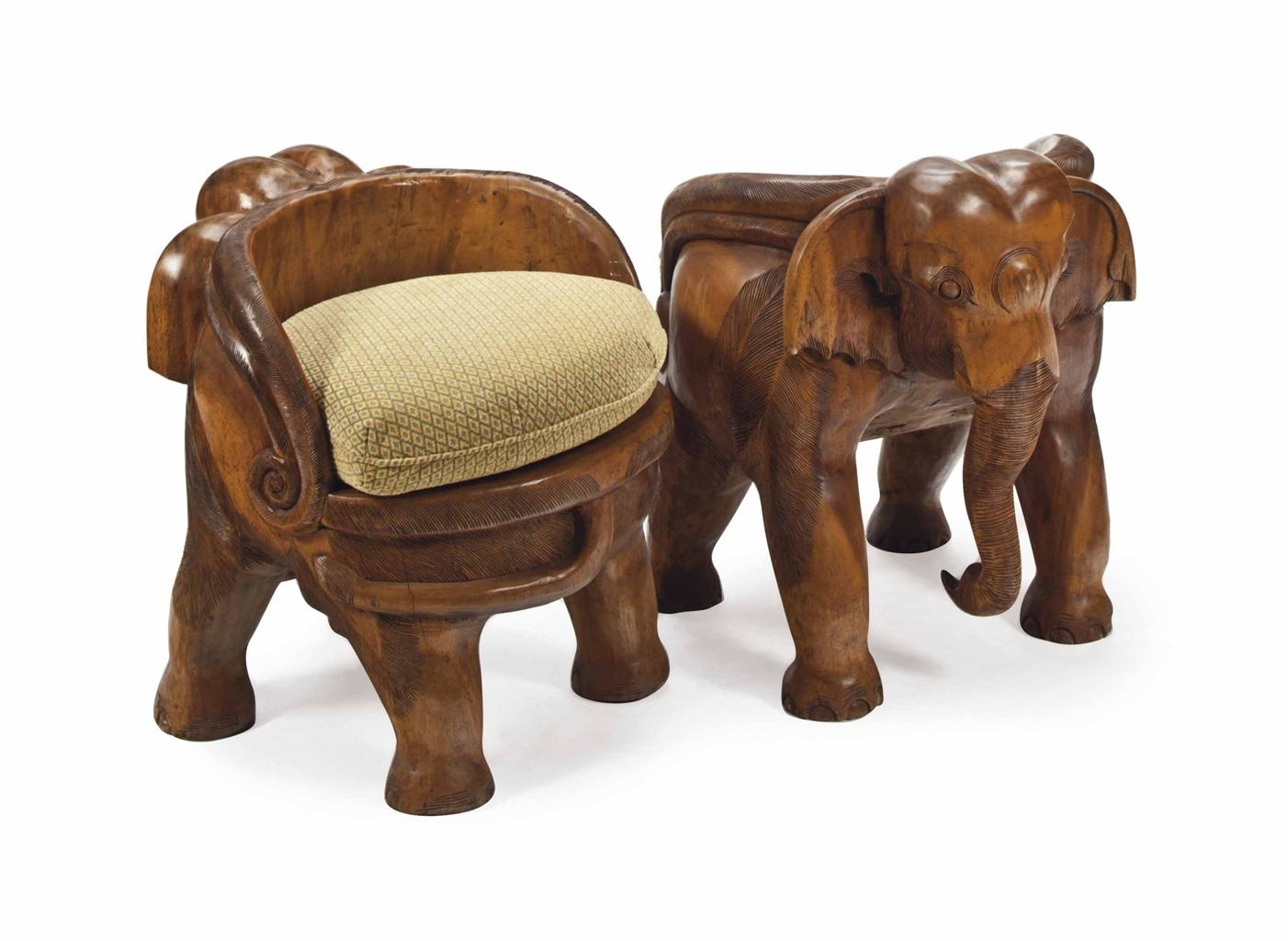 A Pair Of Carved Hardwood Elephant Form Small Chairs