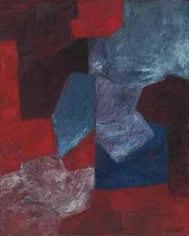 Composition bleue, rouge et mauve