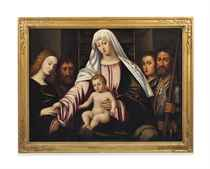 The Madonna and Child with four Saints, including John the Baptist, Michael and Catherine