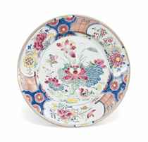 A CHINESE FAMILLE ROSE 'MANDARIN DUCK' CHARGER