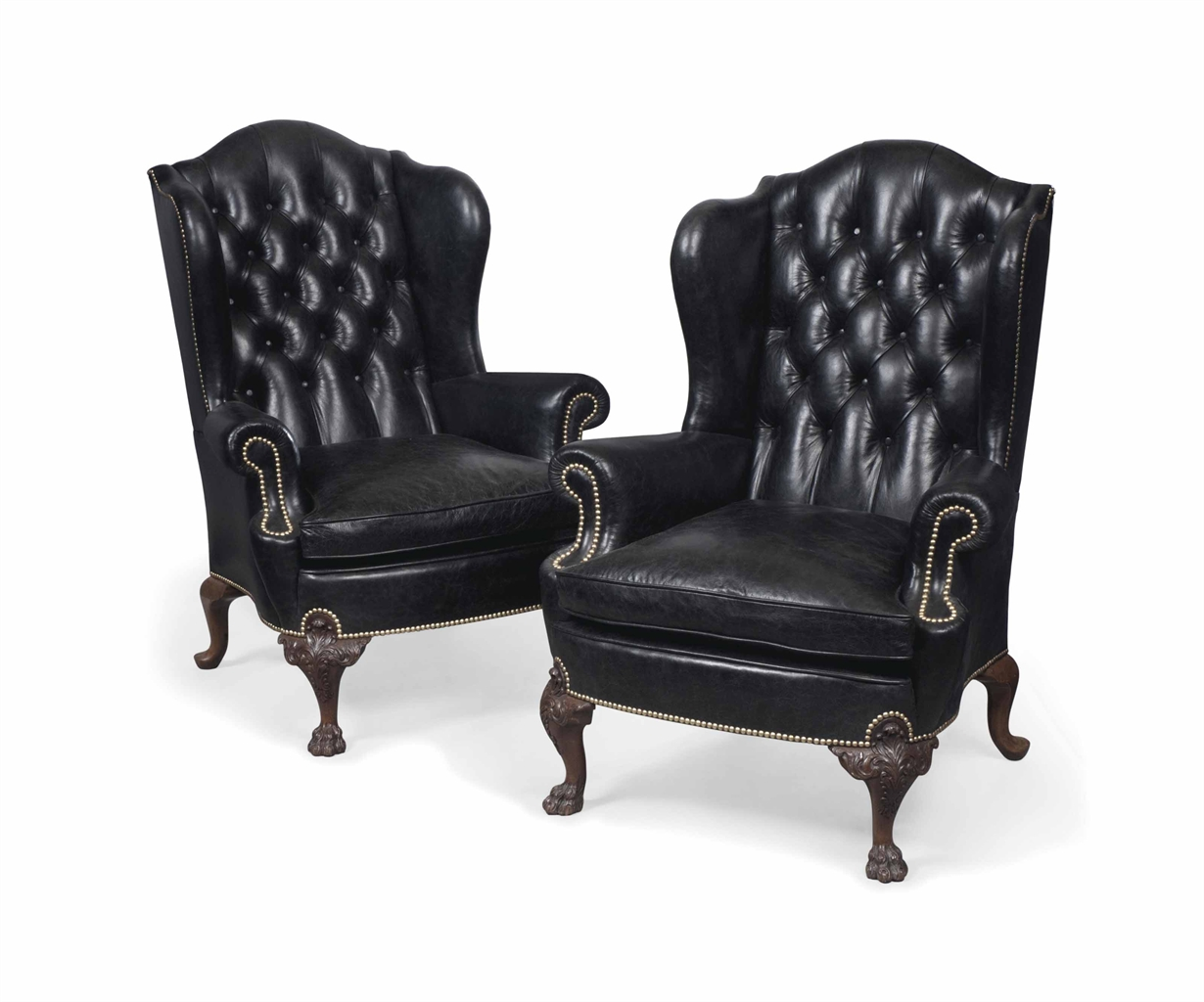 Pin leather wing back arm chair traditional on pinterest