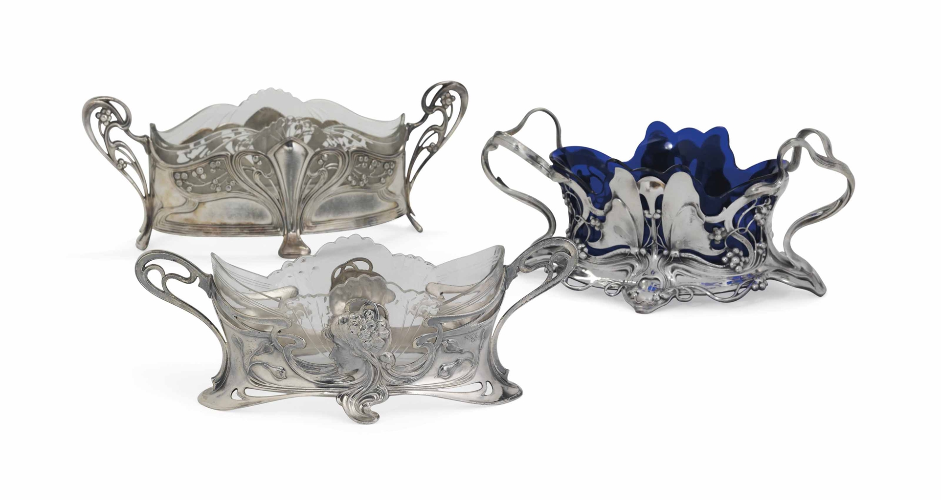 three wmf art nouveau silvered metal and glass flower bowls circa 1906 interiors auction. Black Bedroom Furniture Sets. Home Design Ideas