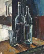 Bouteilles avec verre; and Vase de fleurs