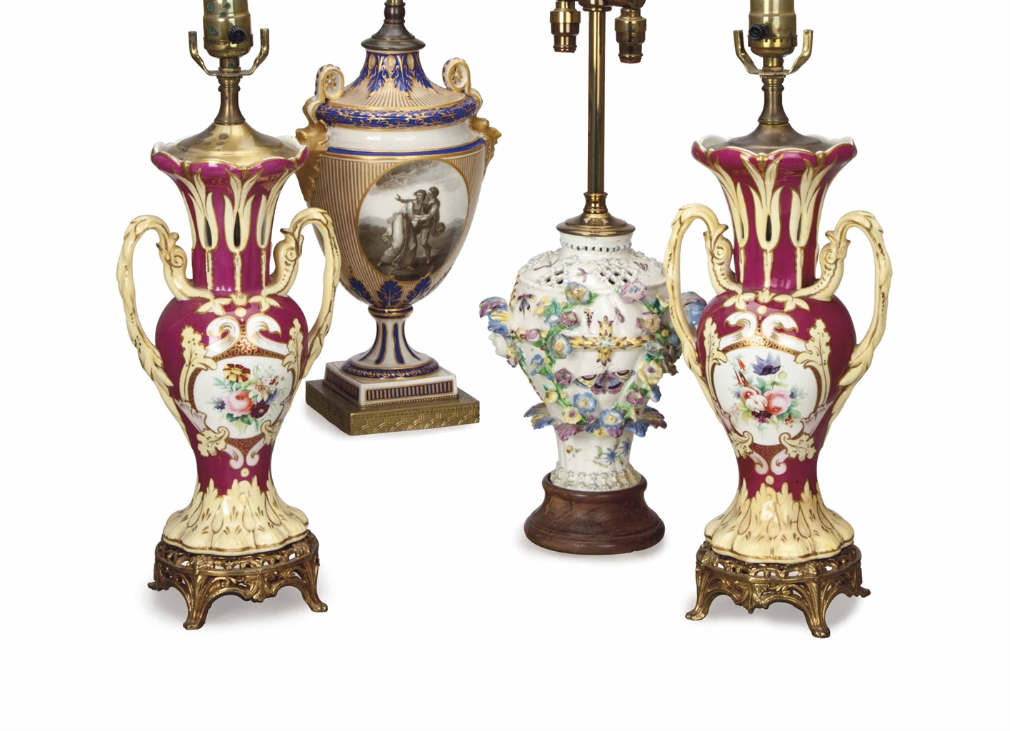 Four English Porcelain Vases Mounted As Lamps Late 18th