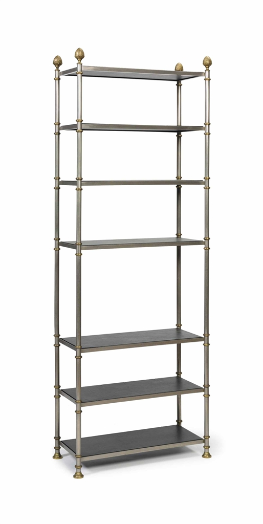 A silvered and brassed metal etagere possibly jansen third quarter 20th c - Montant etagere metal ...