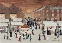 Oldham market in the snow on Christmas Eve