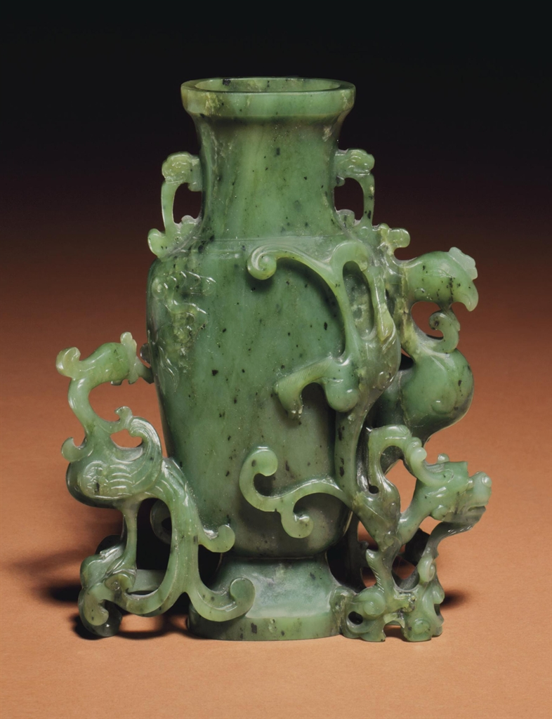 A Small Spinach Green Jade Vase Group 18th 19th Century Vases Jade Jadeite Christie S