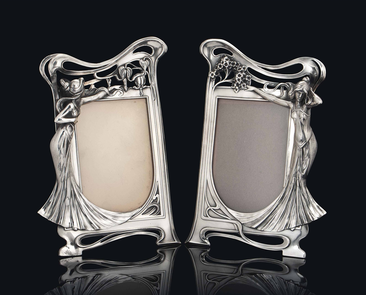 a pair of wmf silvered metal art nouveau figural photograph frames circa 1906 interiors. Black Bedroom Furniture Sets. Home Design Ideas