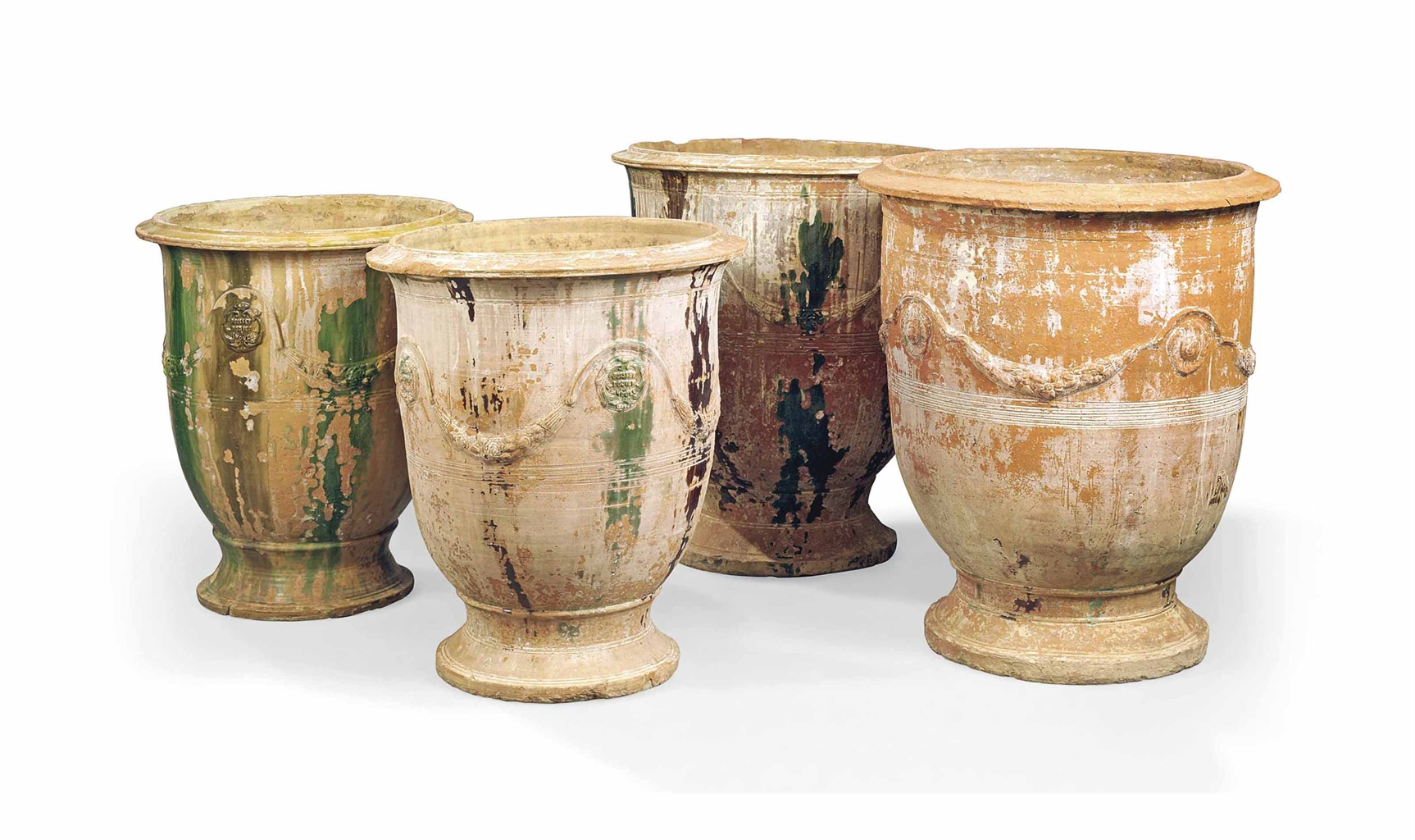 four french terracotta large pots by the boisset pottery at anduze 20th century all other. Black Bedroom Furniture Sets. Home Design Ideas