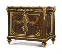 A FRENCH ORMOLU-MOUNTED MAHOGANY, STAINED FRUITWOOD, MARQUET