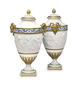 Z Marine Sevres A PAIR OF SEVRES STYLE BISCUIT