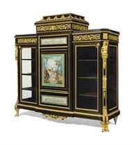A NAPOLEON III ORMOLU AND SEVRES STYLE PORCELAIN-MOUNTED EBONIZED AND BRASS-INLAID VITRINE CABINET