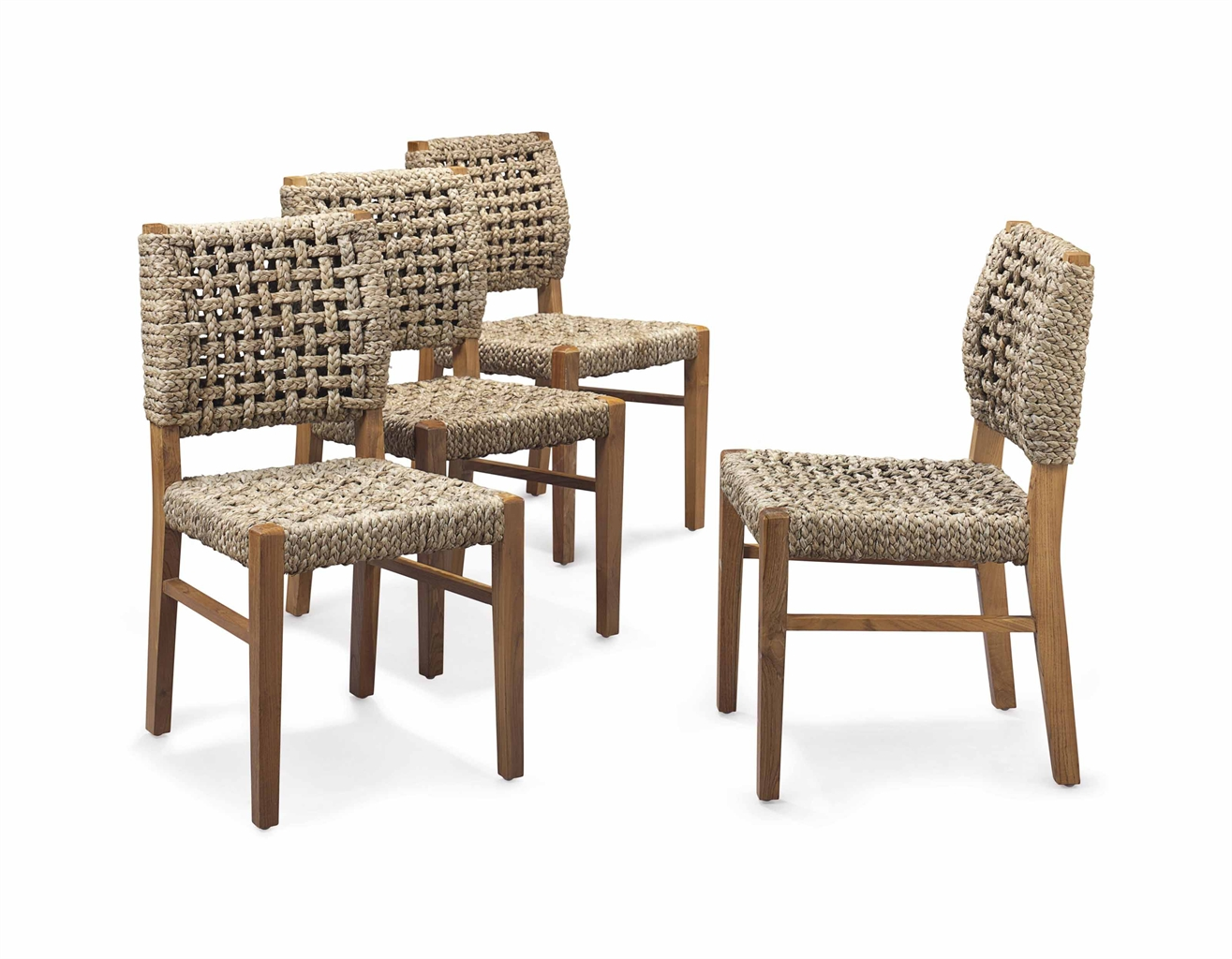 a set of four teak and sisal rope dining chairs by john