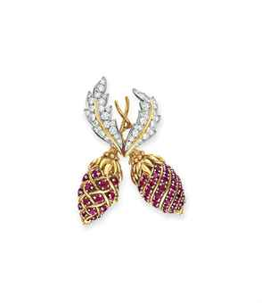 A RUBY AND DIAMOND TWO FRUIT BROOCH, BY JEAN SCHLUMBERGER, TIFFANY & CO.