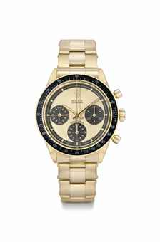 Rolex. A rare and very attractive 18K gold chronograph wristwatch with champagne dial and bracelet