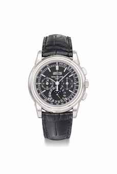 Patek Philippe. A fine, large and rare platinum perpetual calendar chronograph wristwatch with moon phases, original Certificate and additional case back