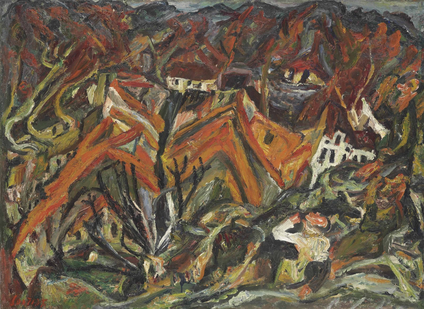 Chaim soutine 1893 1943 vue sur le village 1920s for Chaim soutine