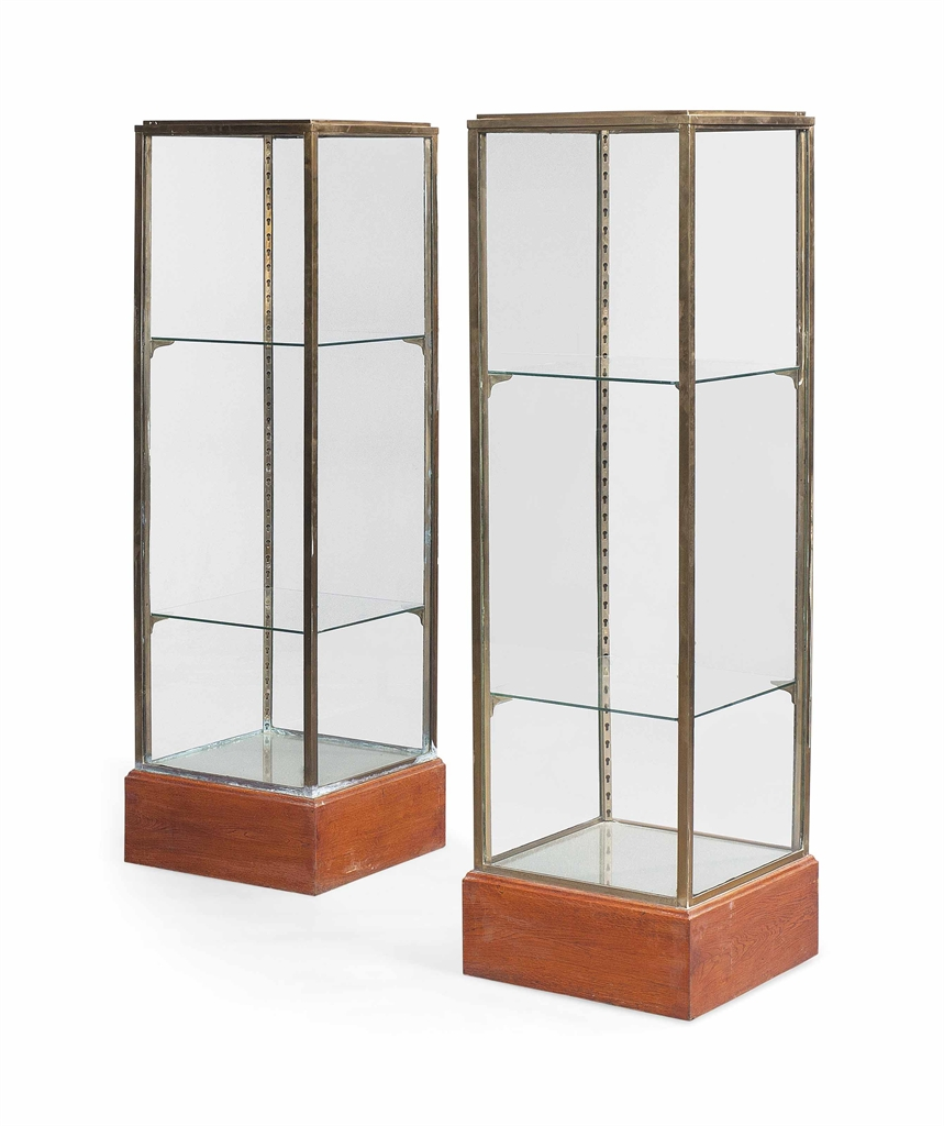 A Pair Of Brass And Glass Display Cabinets Mid 20th Century Display Cabinet Furniture